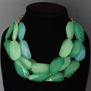 Chunky green and blue beaded necklace